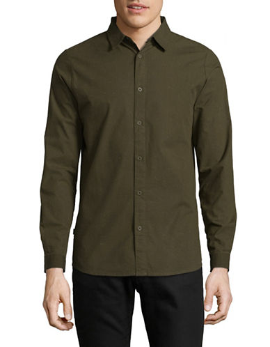 Rvlt Long-Sleeve Flecked Sport Shirt-GREEN-Small
