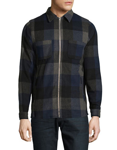 Rvlt Heavy Check Zip Shirt-BLUE-X-Large