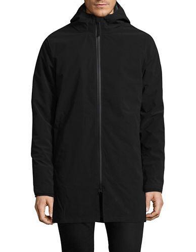 Rvlt Clean Look Long Hooded Jacket-BLACK-Small