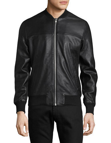 Rvlt Zip Leather Bomber Jacket-BLACK-Large