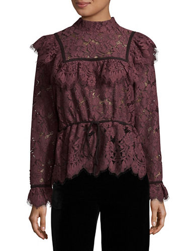 Ganni Ruffled Lace Blouse-PURPLE-36