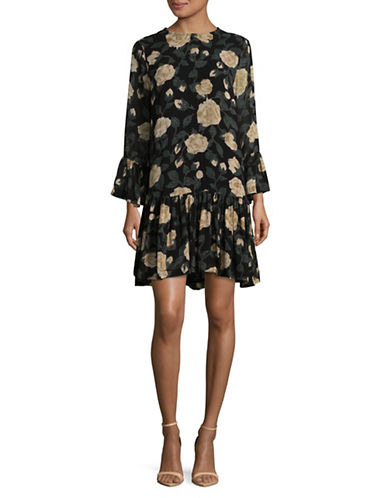 Ganni Printed Bell Sleeve Dress-BLACK MULTI-38