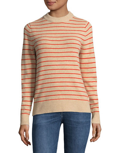 Ganni Striped Wool-Blend Sweater-BEIGE-X-Small