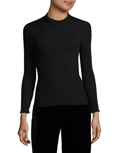 Ganni Stretch Knit Top-BLACK-Medium