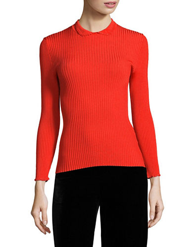 Ganni Stretch Knit Top-RED-Small