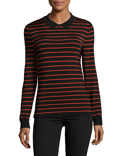 Ganni Striped Crewneck Top-BLACK MULTI-Large