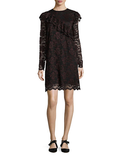 Ganni Mesh Lace Mini Dress-BLACK-42