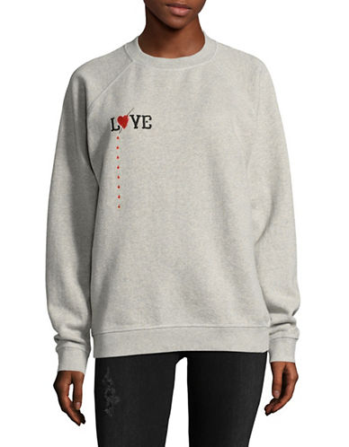 Ganni Logo Crew Neck Cotton Sweater-GREY-Medium