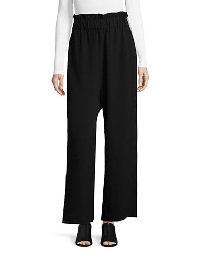 Ganni High Waisted Wide-Leg Pants-BLACK-38