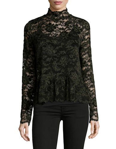 Ganni Embroidered Lace Blouse-BLACK-34