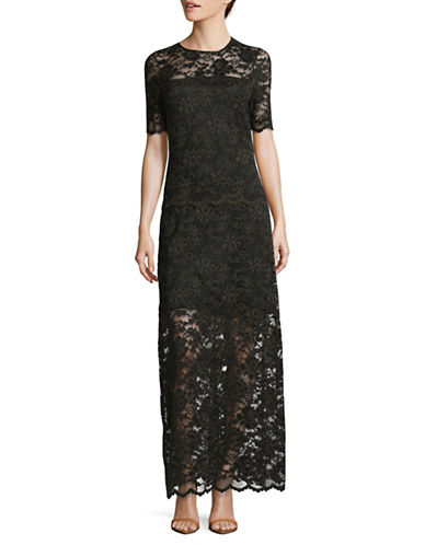 Ganni Embroidered Lace Floor-Length Dress-BLACK-38