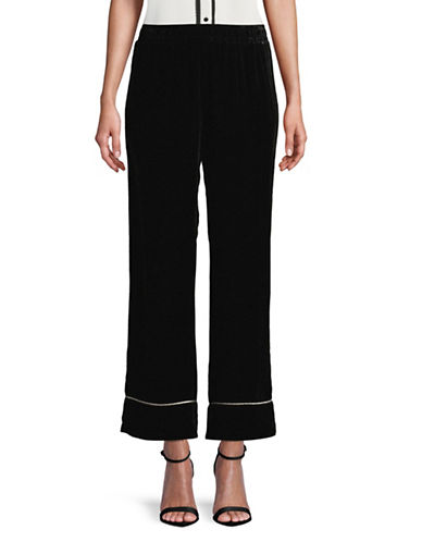Ganni Rodier Wide-Leg Velvet Pants-BLACK-36