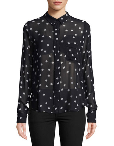 Ganni Marceau Georgette Button-Down Shirt-NAVY-36