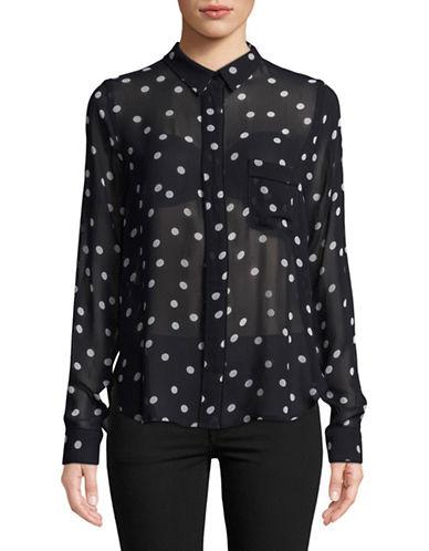 Ganni Marceau Georgette Button-Down Shirt-NAVY-34