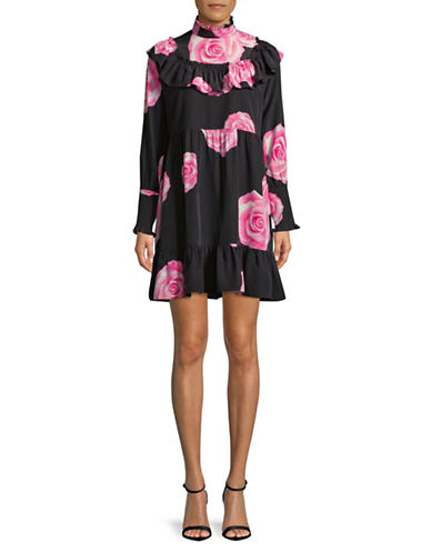 Ganni Fayette Rose-Print Silk Dress-BLACK-34