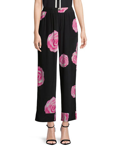 Ganni Fayette Rose-Print Silk Pants-BLACK-34
