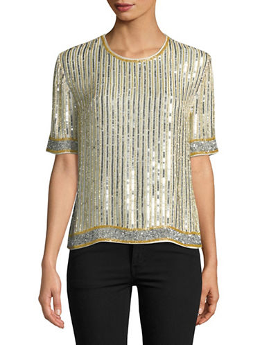 Ganni Temple Sequin Top-SILVER-40