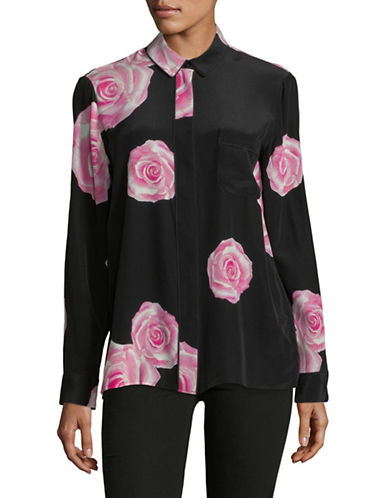 Ganni Fayette Rose-Print Silk Blouse-BLACK-36