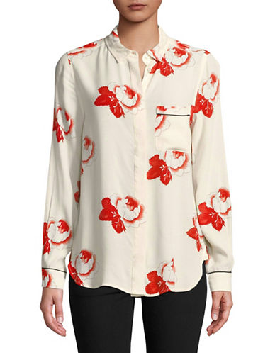 Ganni Harley Crepe Button-Down Shirt-WHITE-34