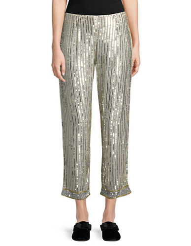 Ganni Temple Sequined Pants-SILVER-36