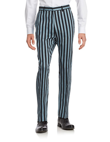 Tiger Of Sweden Leven Striped Linen-Blend Pants-PALE BLUE-EU 52/US 36