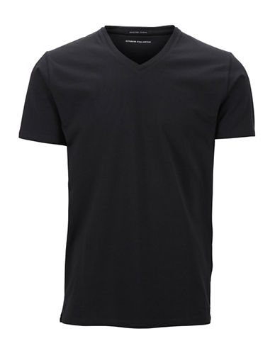 Selected Homme V-Neck Pima Cotton T-Shirt-BLACK-Large