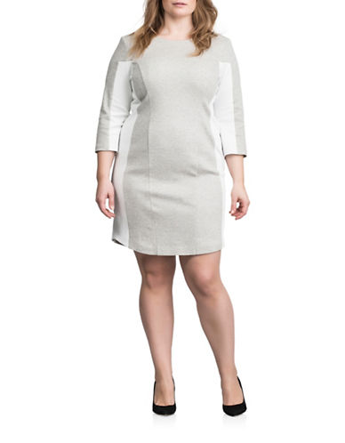 Carmakoma Plus Plus Dougles Panel Sheath Dress-GREY-1X 88491792_GREY_1X