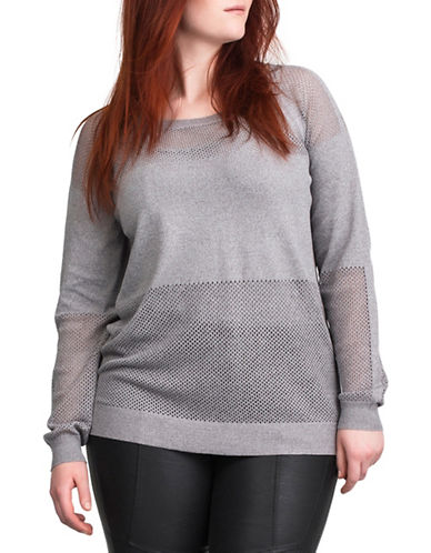 Carmakoma Plus Plus Leonis Long Sleeve Knit Top-GREY-2X plus size,  plus size fashion plus size appare