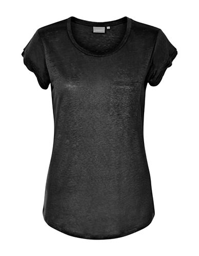 Inwear Vuzima Linen Pocket Tee-BLACK-Medium