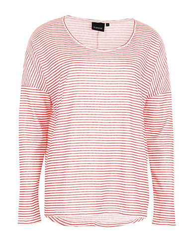 B. Young Pixie Long Sleeve Stripe T-Shirt-PINK-Small