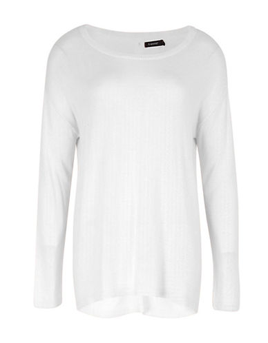 B. Young Olise Back Button Sweater-WHITE-X-Large