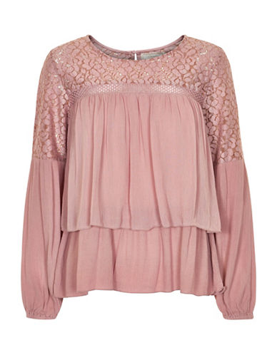 Cream Anna Lace Yoke Blouse-PINK-36