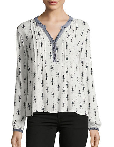 Cream Compass Print Tunic-GREY-40