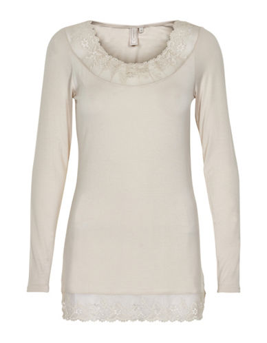 Cream Florence Long Sleeve Top-IRON-X-Small