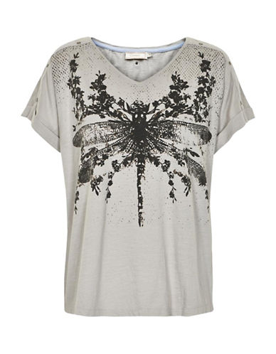 Cream Bugsy Print T-Shirt-GREY-Large 89002639_GREY_Large