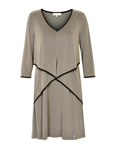 Cream Vilian Draped Shift Dress-BEIGE-Medium