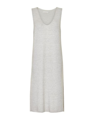 Cream Emilia Knit Slipover Dress-GREY-X-Small