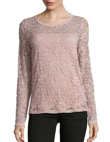 Cream Therese Long Sleeve Lace-Knit Top-PINK-Small 88721586_PINK_Small