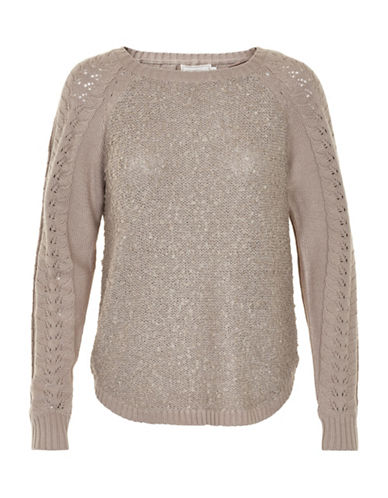 Cream Wool-Blend Carmen Pullover-PINK-X-Small