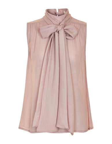 Cream Canvile Bow Blouse-PINK-40