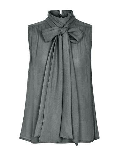 Cream Canvile Bow Blouse-GREY-34