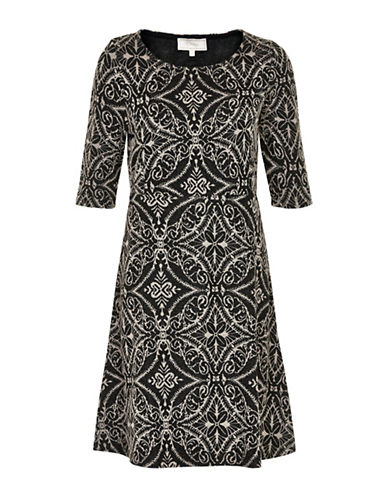 Cream Hally A-Line Dress-BLACK-Large