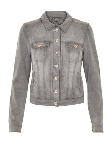Cream Mia Knit Denim Jacket-GREY-X-Small