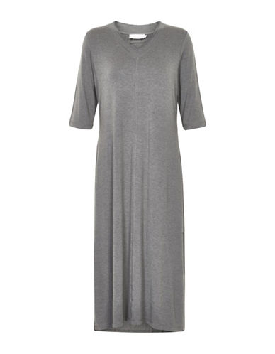 Cream Midi Sweater Dress-GREY-Large