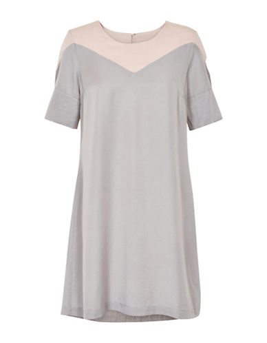Cream Emma Colourblock Shift Dress-GREY-38