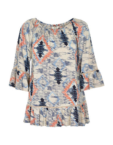 Cream Southwest Printed Peasant Top-BLUE-42