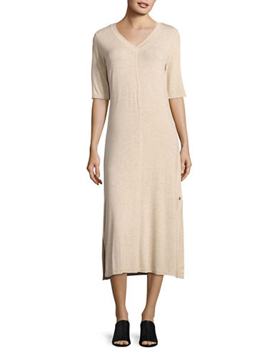 Cream Midi Sweater Dress-BROWN-Medium