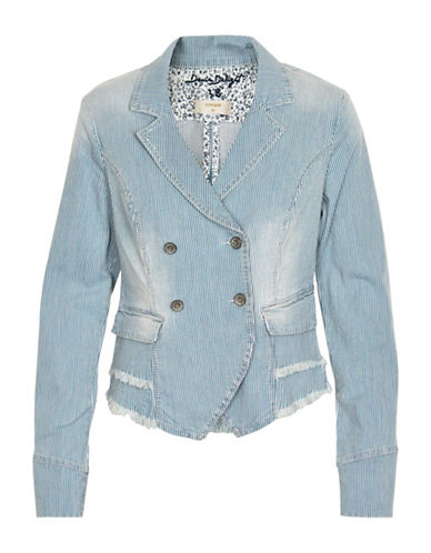 Cream Striped Denim Blazer Jacket-BLUE-38