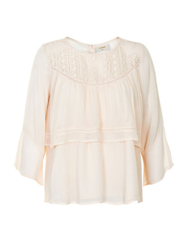 Cream Angelica Layered Blouse-PINK-42