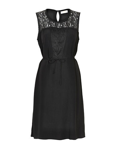 Cream Dona Sleeveless Lace Midi Dress-BLACK-38